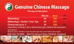 Genuine Chinese Massage For one hour Full Body Massage Therapy no oil $40. For one hour Full Body Massage Therapy with oil $50. Try us now. Very good massage guaranteed ! We services offered very good hard deep tissue or soft relaxing massage for Men and